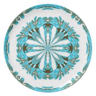 Placa de las flores blancas de la aguamarina platos