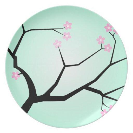 Placa de las flores de cerezo plato de cena