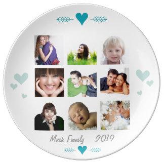Placa de las fotos de familia de la porcelana plato de cerámica