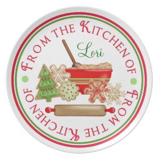 Placa de las galletas del navidad platos