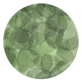 Placa de las hojas platos de comidas