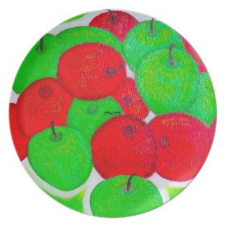 """Placa """"de las manzanas verdes y rojas"""" platos de comidas"""