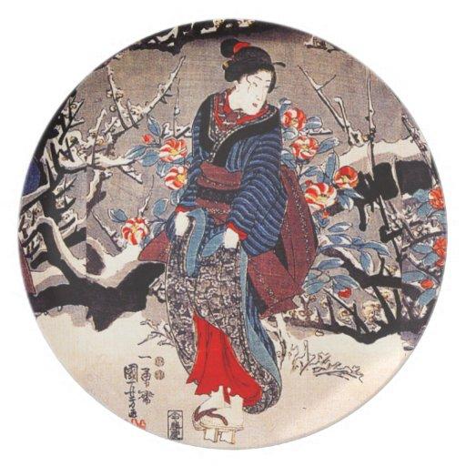 Placa de las mujeres de Kuniyoshi tres Platos