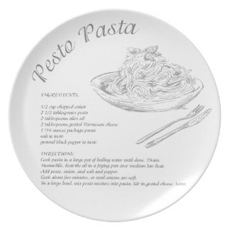 Placa de las pastas de Pesto Plato