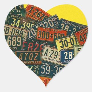 Placa de las placas del viaje de los viajes por calcomanía corazón personalizadas