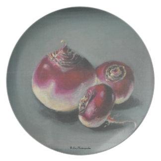 Placa de las remolachas rojas plato de cena