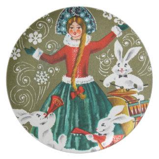 Placa de las vacaciones de invierno del vintage plato para fiesta