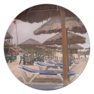 Placa de las vacaciones de la playa plato para fiesta