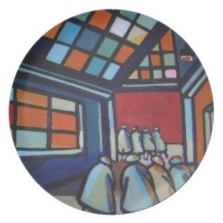 Placa de las ventanas del tejado plato de comida