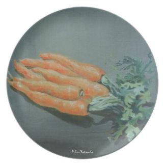 Placa de las zanahorias plato de cena