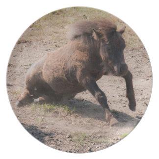 Placa de levantamiento del caballo plato de comida