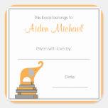 Placa de libro anaranjada y gris de la fiesta de b pegatina cuadradas personalizada