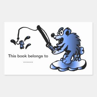 Placa de libro azul del oso polar pegatina rectangular