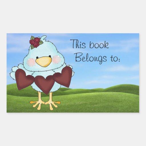 Placa de libro azul linda del pájaro pegatina rectangular