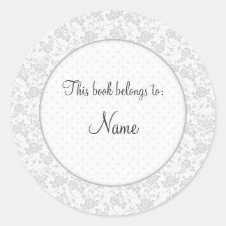 Placa de libro con diseño floral elegante pegatina redonda