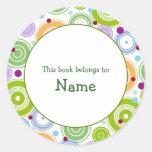Placa de libro con el diseño retro - personalizabl pegatinas redondas
