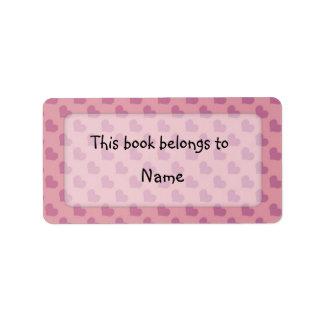 Placa de libro con los corazones coloridos etiqueta de dirección