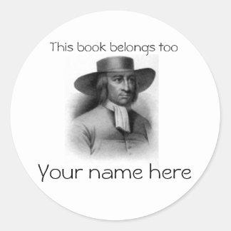 Placa de libro de George Fox Pegatina Redonda