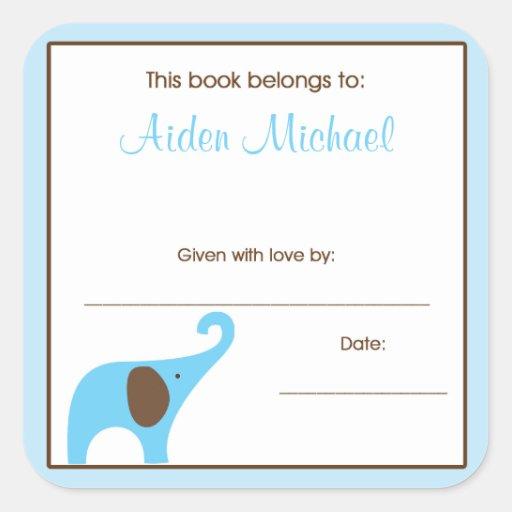 Placa de libro de la fiesta de bienvenida al bebé pegatinas cuadradases