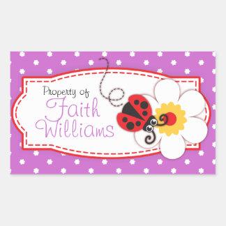placa de libro de la mariquita de los niños o etiq rectangular altavoces