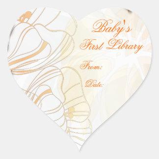 Placa de libro de la primera biblioteca del bebé colcomanias de corazon