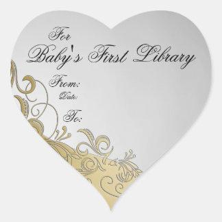"""""""Placa de libro de la primera biblioteca del bebé"""" Calcomanía De Corazón Personalizadas"""