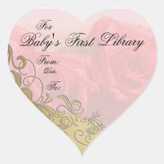 """""""Placa de libro de la primera biblioteca del bebé"""" Calcomanías De Corazones"""