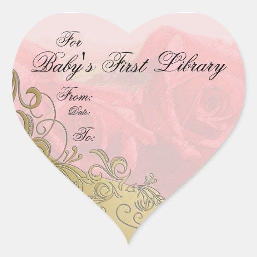 """""""Placa de libro de la primera biblioteca del bebé"""" Calcomanías De Corazones Personalizadas"""