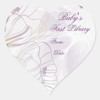 Placa de libro de la primera biblioteca del bebé colcomanias corazon personalizadas