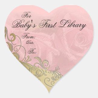 Placa de libro de la primera biblioteca del bebé colcomanias de corazon personalizadas