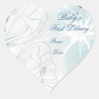Placa de libro de la primera biblioteca del bebé pegatina corazon personalizadas