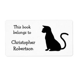 Placa de libro de la silueta del gato etiquetas de envío