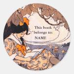 Placa de libro de lectura del chica del vintage pegatina