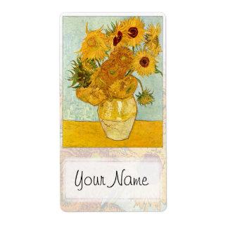Placa de libro de los girasoles v2-B Etiquetas De Envío
