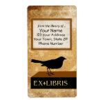 Placa de libro del cuervo etiqueta de envío