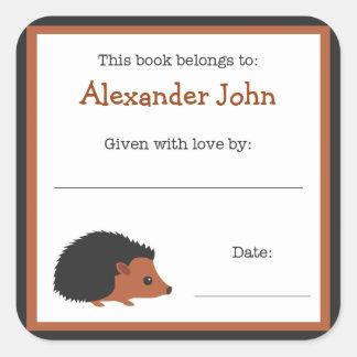 Placa de libro del erizo - bookplate de los animal colcomanias cuadradas personalizadas