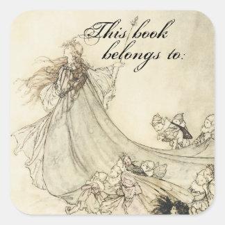 Placa de libro del Faerie del vintage Calcomanía Cuadradas Personalizada