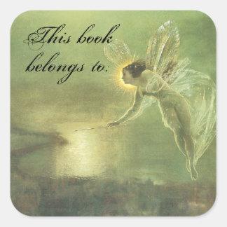 Placa de libro del Faerie del vintage Pegatinas Cuadradas