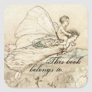 Placa de libro del Faerie del vintage Pegatina Cuadrada