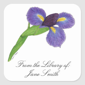 Placa de libro del flor del iris japonés pegatina cuadrada