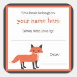 Placa de libro del Fox - bookplate de la Calcomanías Cuadradas
