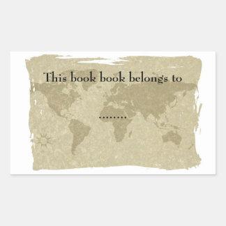 Placa de libro del mapa del mundo de Olde Pegatina Rectangular