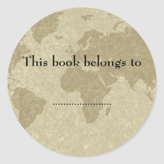 Placa de libro del mapa del mundo de Olde Pegatina Redonda