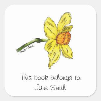 Placa de libro del narciso (narciso) pegatina cuadrada