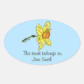 Placa de libro del narciso (narciso) calcomanías ovaladas personalizadas