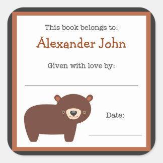 Placa de libro del oso de Brown - bookplate de los Pegatina Cuadrada