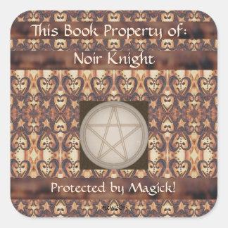 Placa de libro del pentáculo de la noche pegatina cuadrada
