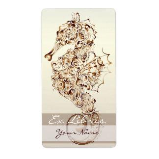 Placa de libro del Seahorse 1 - cobre Etiquetas De Envío
