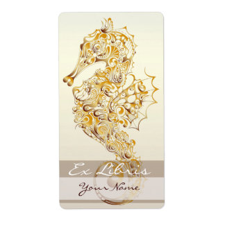 Placa de libro del Seahorse 2 - oro Etiquetas De Envío