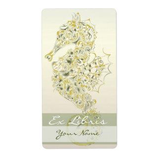Placa de libro del Seahorse 3 - amarillo verde Etiqueta De Envío